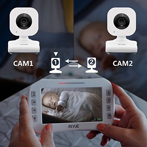 AXVUE E612 Video Baby Monitor with 4.3'' LCD Screen and Two Cameras, Night Vision, 800 ft. Distance and 8H Battery Life, Auto-Scan, Two Way Talk, View Angle Adj. , Power-saving Video ON/OFF by Axvue (Image #9)