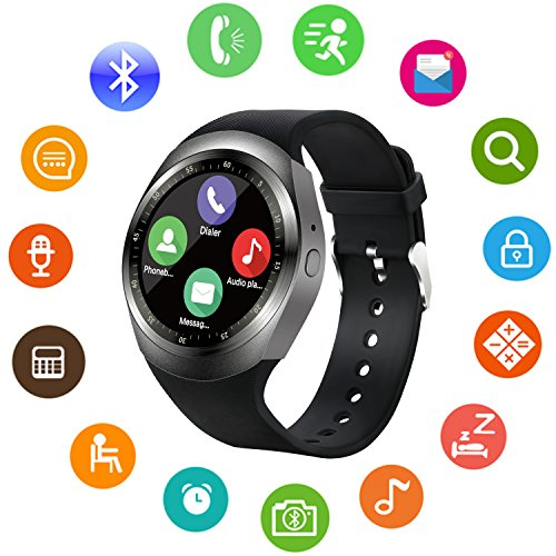 h Unlocked Cell Phone Watch with SIM Card Slot Smartwatch for Samsung LG HTC Sony Google Huawei Xiaomi Android Smart Phones (Black) ()