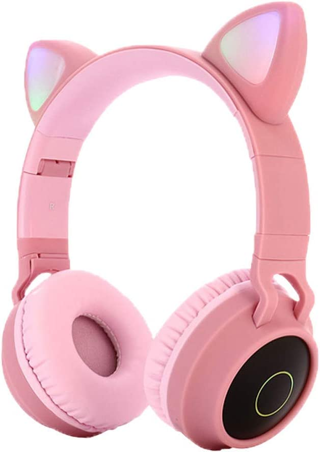 Alician Cute Cat Ear Bluetooth 5.0 Headphones Foldable On-Ear Stereo Wireless Headset with Mic LED Light Support FM Radio/TF Card/Aux in for Smartphones PC Tablet Pink