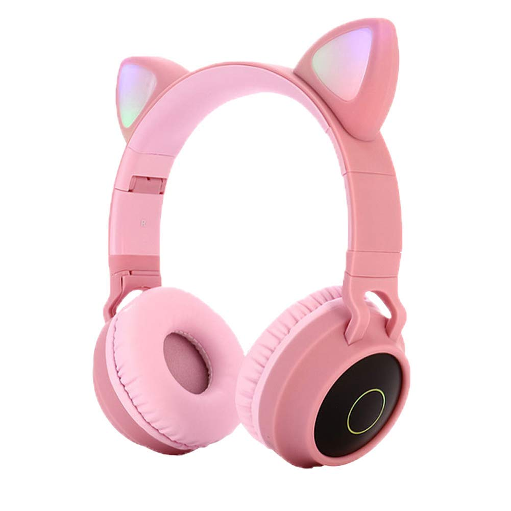 RONSHIN Cute Cat Ear Bluetooth 5.0 Headphones Foldable On-Ear Stereo Wireless Headset with Mic LED Light Support FM Radio/TF Card/Aux in for Smartphones PC Tablet Pink