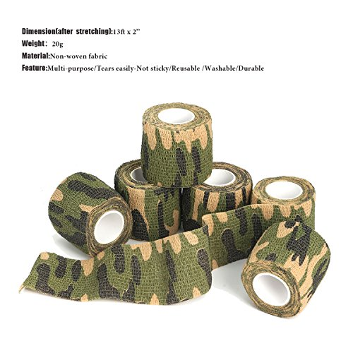 97d639203 OUTERDO 6 Rolls 14.8x0.16ft Military Camouflage Tape Camo Wrap ...