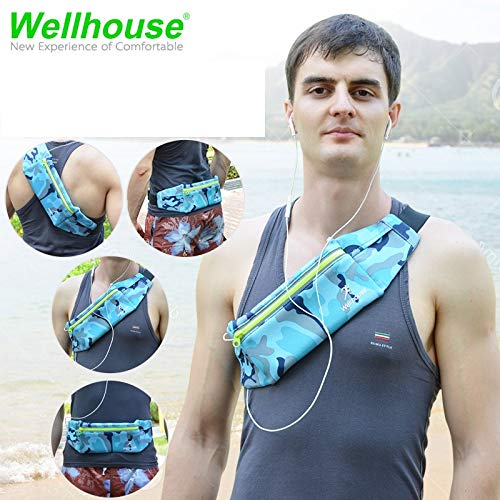 wellhouse Fanny Pack Running Waist Bag Pack Water Resistant Sports Bag for Hiking Fitness Outdoor Sports Running Adjustable Pouch for All Kinds of Phones