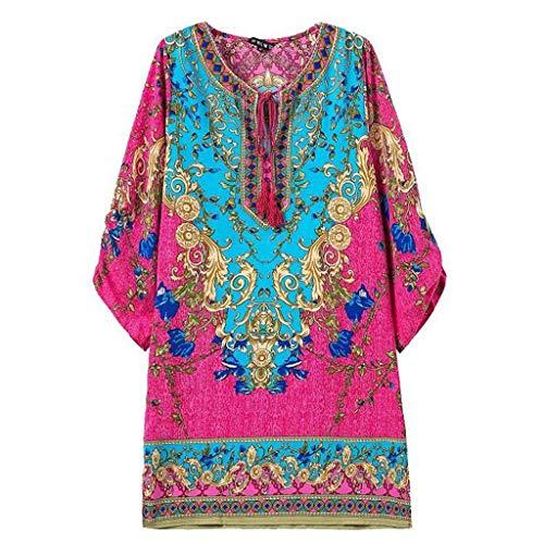 (Women's Half Sleeve Baggy Bohemian Neck Tie Vintage Printed Ethnic Style Summer Shift Dress)