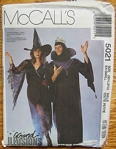 McCall's 5021 Grand Illusions Sewing Pattern ~ Adult Halloween Costumes, Sabrina Witch Dress, Men's Mezmir Wizard Robe, Size EX-Small (30 1/2-31 (Witch Costume Patterns For Adults)