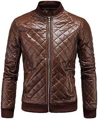 Aowofs Winter Men's Leather British Collar Men's Diamond Leather Jacket Leather Jacket