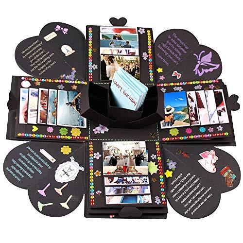 - Upgraded Explosive Box DIY Manual Album Scrapbook Valentine's Day Wedding Gift Box Birthday Party Surprise Festival Gift Box (Black, 17