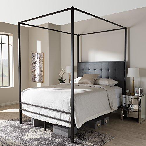 Baxton Studio Contemporary Canopy Queen Bed in Black -