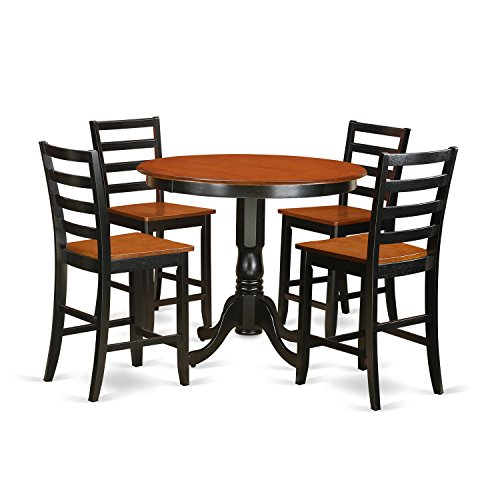East West Furniture TRFA5-BLK-W 5 Piece Kitchen Dinette Table and 4 Bar Stools Set