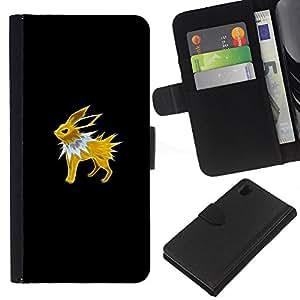 // PHONE CASE GIFT // Moda Estuche Funda de Cuero Billetera Tarjeta de crédito dinero bolsa Cubierta de proteccion Caso Sony Xperia Z1 L39 / Poke Monster Yellow Rabbit /
