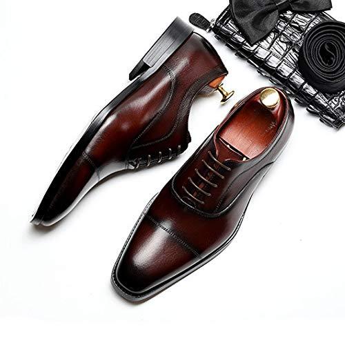 Zapatos Negro Vestido Hombres Cordones Con Cuero Derby Formal Elegante Negocios Para Souy Puntiagudo Novia Oficina Oxfords Real B Trabajo Rojo De Toe YgAdUYwq