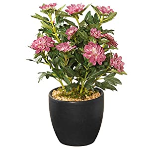 "CC Christmas Decor 11"" Potted Zinnia Artificial Flowers 1"