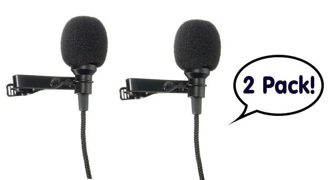 2 Pack - Lavalier Lapel Microphone Clip-on Omnidirectional Condenser Mic for Apple iPhone, iPad, iPod Touch, Samsung Android and Windows Smartphones Film Interviews Voval Video Recording (Black)
