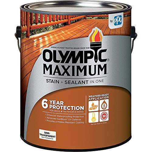 Olympic Stain 79551 Maximum Wood Stain and Sealer, 1 Gallon, Semi-Transparent Stain, Cedar (Best Wood Stain And Sealer)