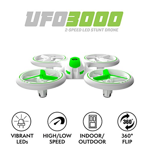 "Force1 Bright LED Quadcopter Drone – ""UFO 3000"" Easy Fly RC Drone for Kids with Glowing LED Drone Quadcopter Lights + Mini Drone Bonus Battery and Blades (Certified Refurbished) by Force1 (Image #1)"