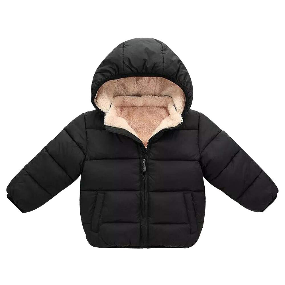 Boomdan Toddler Baby Boys Autumn Winter Down Jacket Coat Warm Padded Thick Outerwear Clothes (Black, 3T/90)
