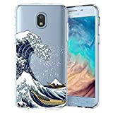 Unov Case Compatible with Galaxy J3 2018 Clear Design Slim Protective Soft TPU Bumper Embossed Pattern Cover Galaxy J3 Achieve J3 Star Express/Amp Prime 3 J3 V 3rd Gen (Great Wave)