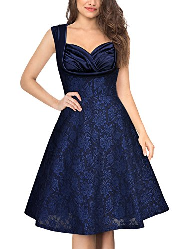 MissMay Women's Retro 1950s Floral Lace Cover Contrast A-Line Swing Dress Small 50s Nylon Lace