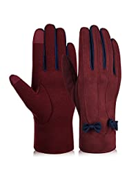 Vbiger Women Winter Warm Gloves Touch Screen Gloves Casual Gloves with Lovely Bowknot (L, Wine Red)
