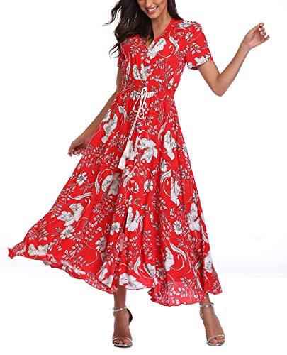 Rayon Material - V fashion Women's Floral Maxi Dress Button Up Split Summer Boho Long Beach Dress