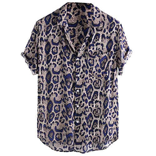 (Men's Loose -fit Short-Sleeve Leopard Print Chest Pocket Shirt Lightweight Button Down Shirt Tee Blue)