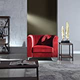Cheap Classic and Traditional Living Room Marilyn Velvet Armchair, Club Chair with Tufted Accent Pillows (Red)