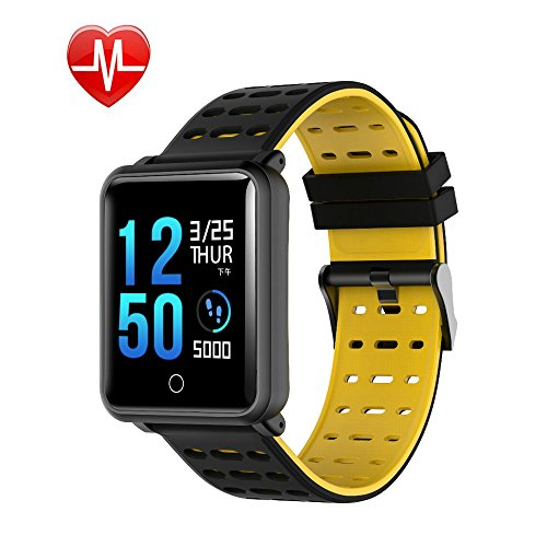 Smart Watch Bluetooth Fitness Watch – Waterproof Touchscreen, TF2 1.3 inch HD, Step Counter, Heart Rate & Sleep Monitor Sport Smart Bracelet for IOS/Android, for Men Women Kids (Black + Yellow)
