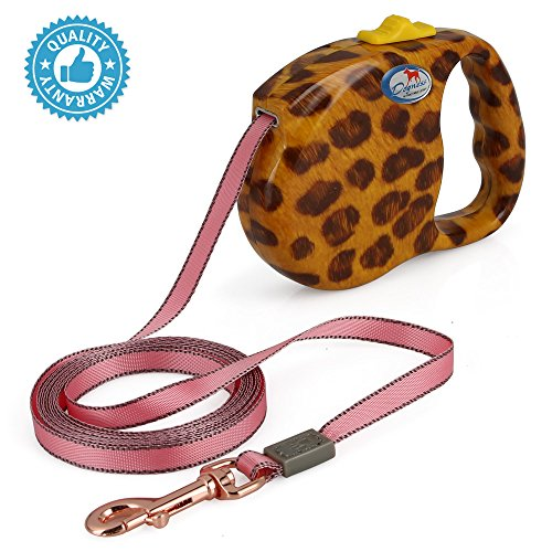- DOGNESS Retractable Dog Leash, the Modern Series, One Button Locking System, Suitable For Kids, No Tangle Waterproof Ribbon Tape, for Small Medium Large Dogs, Leopard Print 13 ft