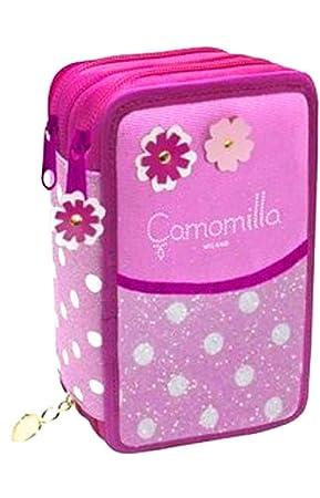 Estuche Escolar Seven 3 cremallera Manzanilla Flowers & Dots ...