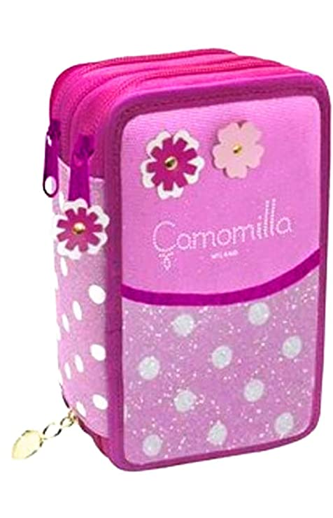 8f88b6d3c4 Astuccio Scuola Seven 3 Zip Camomilla Flowers & Dots Rosa: Amazon.it ...