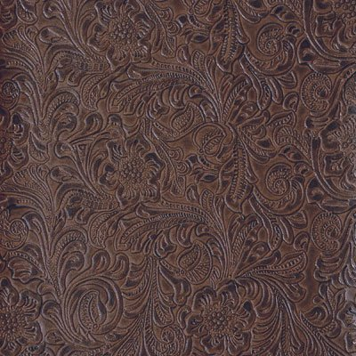 54'' Wide Faux Leather Fabric Tooled Floral Chocolate By The Yard Tooled Faux Leather