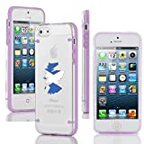 Apple iPhone 4 4s Ultra Thin Transparent Clear Hard TPU Case Cover Scotland Scottish Flag (Purple)