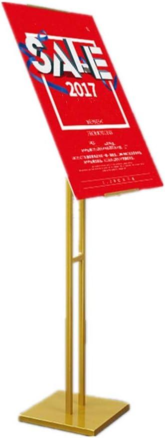 フロアディスプレイスタンド 傾斜面のポスターは、交換可能な広告のラックサインは活動表示のためのスタンド、フロアスタンドメタルポスターは、スタンド サイン棚 (色 : ゴールド, サイズ : 27.5 x 150cm)