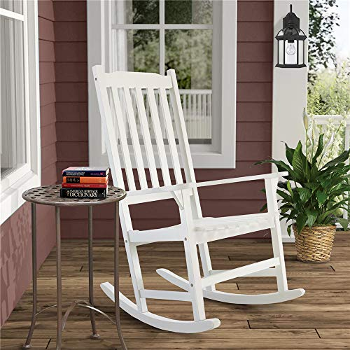 Solid Wood Outdoor Rocking Chairs for Patio Porch Rocker (White)