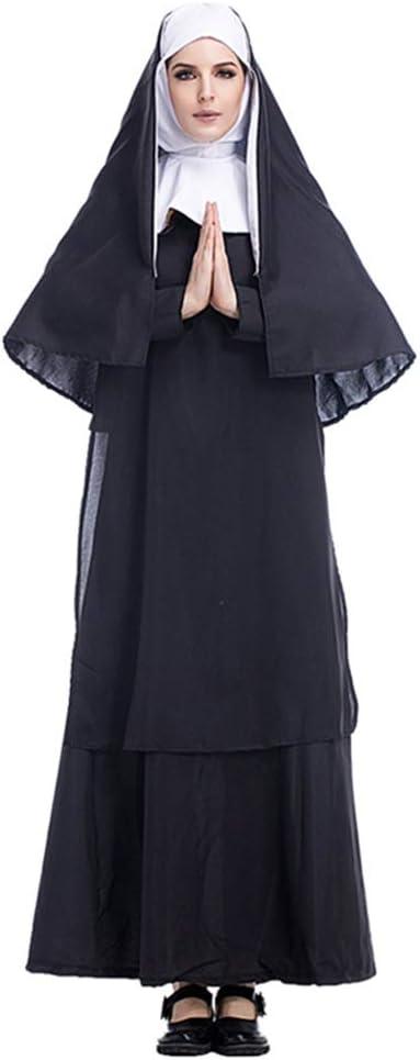 KLJJQAQ Disfraz de Halloween Cosplay Jesucristo Hombre Misionero Sacerdote Disfraz María Sacerdote Monja Disfraz Juego de Roles,L
