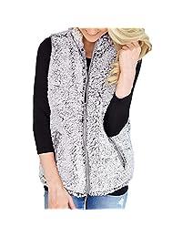 Muranba Women's Zip Up Faux Fur Fleece Sherpa Vest Warm Waistcoat with Pockets