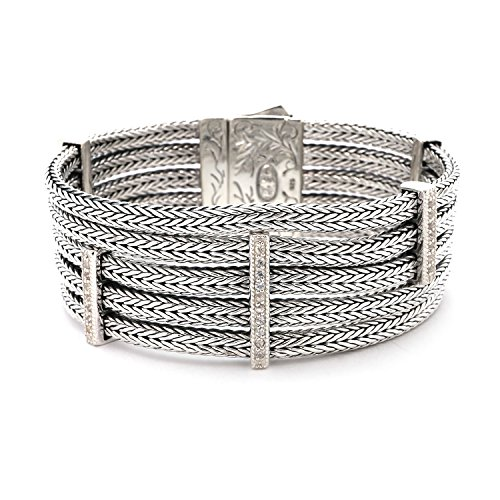 Rhodium Plated Sterling Silver White Sapphire Station Stranded Wheat Bracelet, 7.5″