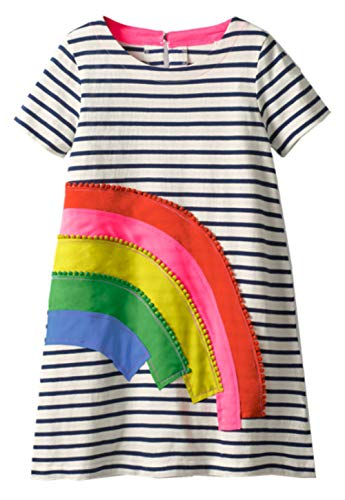 (WRHJZW Toddler Girls Stripe Cotton Dress Rainbown Short Sleeves Casual Summer Shirt Size)