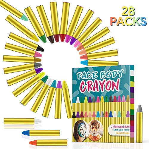 (Sumille 28 Colors Face Painting Crayons Face and Body Painting Crayons Party Makeup Sticks for Kids, Toddlers and Adults Easter Halloween Christmas Theme Party Cosplay)