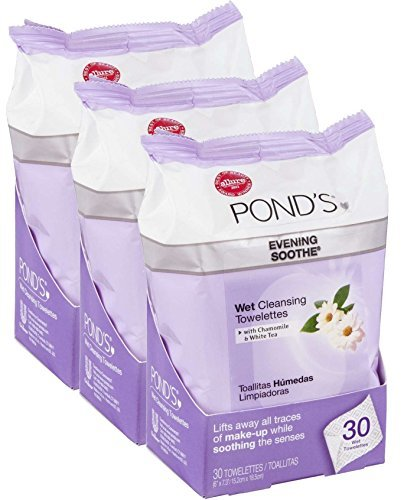 Ponds Towelettes, Wet Cleansing, Evening Soothe, with Chamomile & White Tea, 30