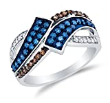 Size 9 - 10K White Gold Chocolate Brown , Blue & White Round Diamond Fashion Ring - Channel Setting (1/2 cttw.)