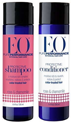 EO Rose and Chamomile Protective Shampoo and Conditioner Bundle For Color Treated Hair With Jojoba and Bergamot, 8.4 fl. oz. (Eo Conditioner Rose)