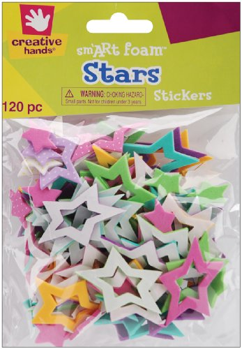 Fibre Craft 120-Pack Foam Stickers, Cut-Out Stars