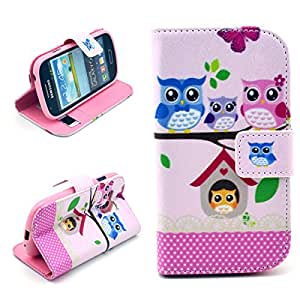 Dokpav® Samsung Galaxy S3 Mini (S iii Mini) i8190 Case,Ultra Slim Thin PU Leather Case Cover Flip For Samsung Galaxy S3 Mini (S iii Mini) i8190 With Interior Slip Pockets For Cards-owl family