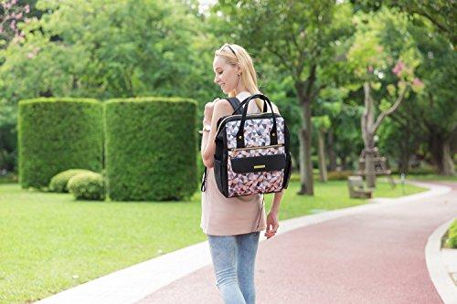 mommore Fashion mochila bolso cambiador pañales bolsa con cambiador para el cuidado del bebé negro negro negro