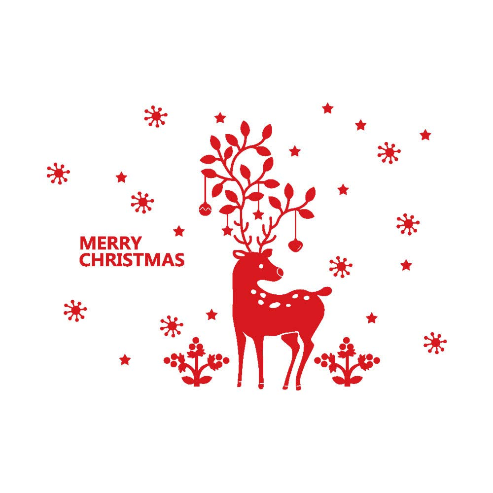 XINDEEK Home Shop Decor Christmas Wall Sticker Cute Elk Glass Window Removable Decal Mural (Red)