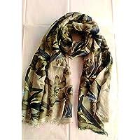 Elena Milani Couture- flower handmade silkscreen iced coffee scarf