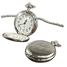 Luxury Engraved s UK Men's Father Of The Bride Pocket Watch Chrome Finish, Personalised / Custom Engraved In Box