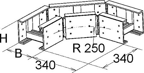 Niedax GFK-Bogen 90Grad ULB 53.300 Bogen für Kabelleiter 4013339958573