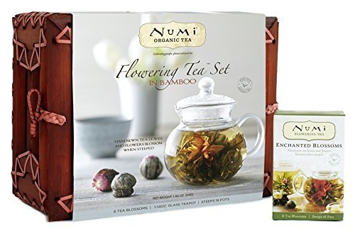 Numi Organic Tea Flowering Gift Set in Handcrafted Mahogany Bamboo Chest: Glass Teapot & 6 Flowering Tea Blossoms (Fruit Gift Set)