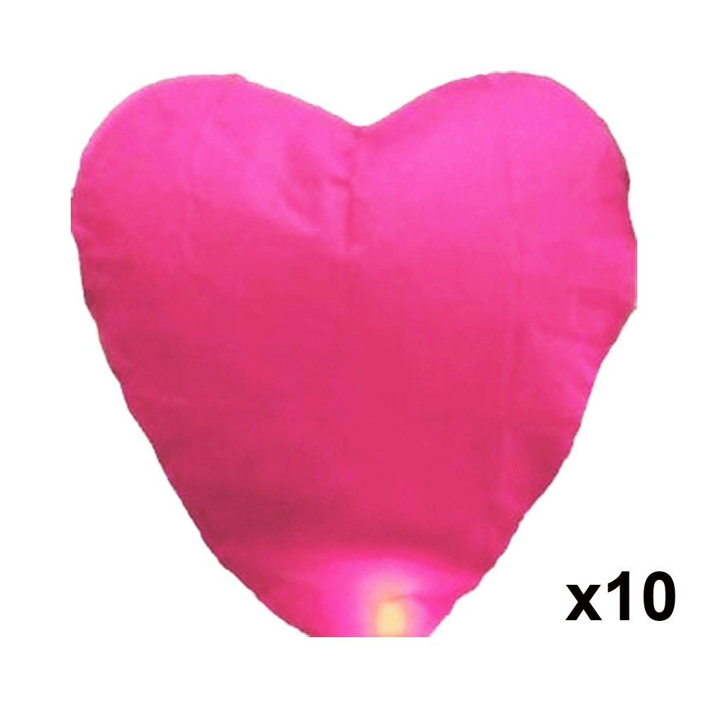 Alrens_DIY(TM) 10 Pcs Pink Heart-shaped Chinese Fire Sky Lanterns Fly Flying Paper Wish Wishing Lamp Balloon Lantern for Wedding Birthday Festival Xmas Christmas Party Anniversary Celebration by Alrens
